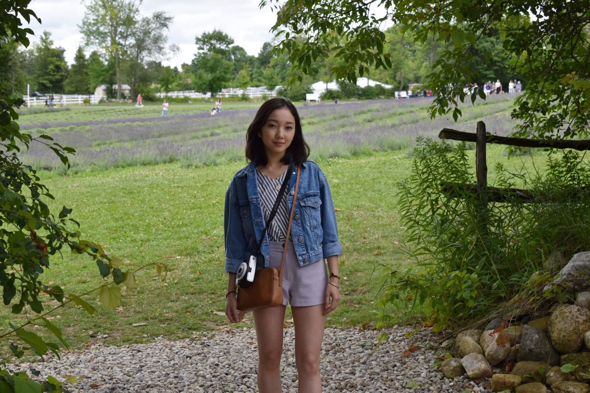 Casual style shot taken in front of the lavender fields