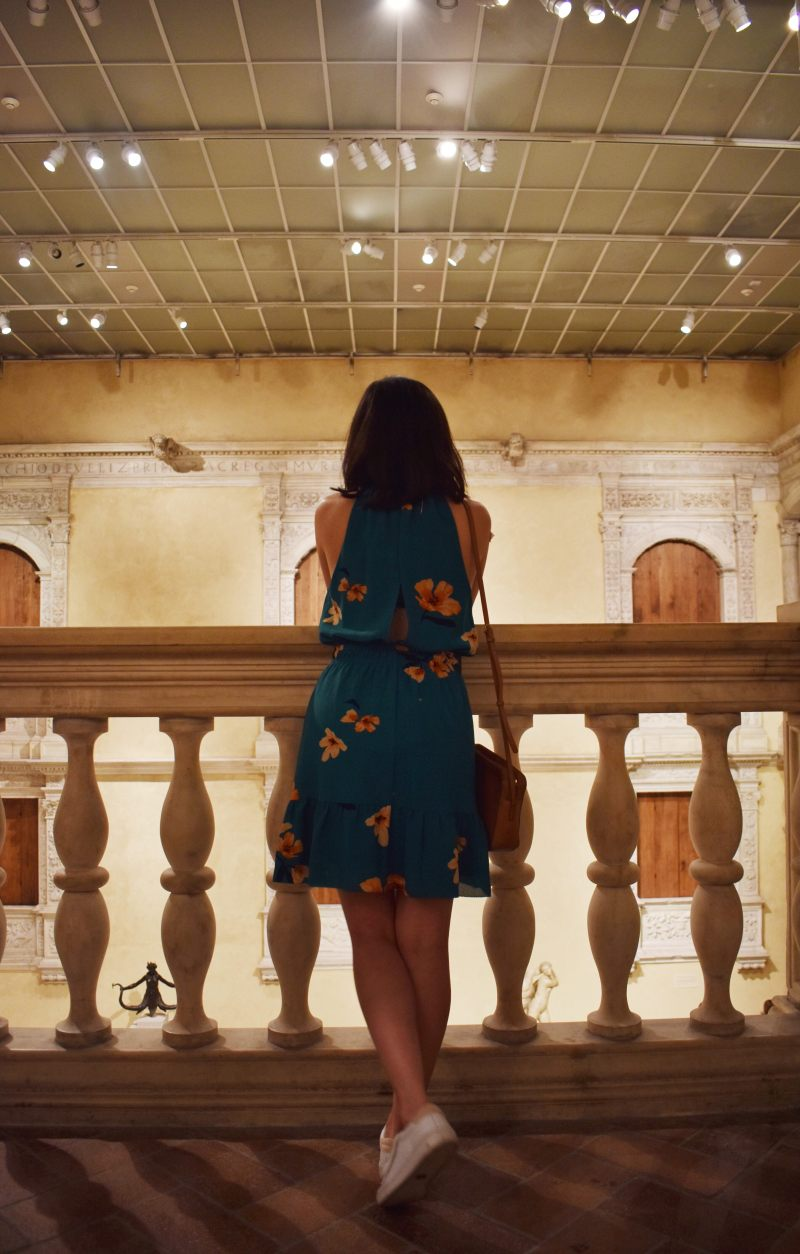 Aritzia effet dress in green floral, women's ace sneakers by Keds. Location at the MET museum.