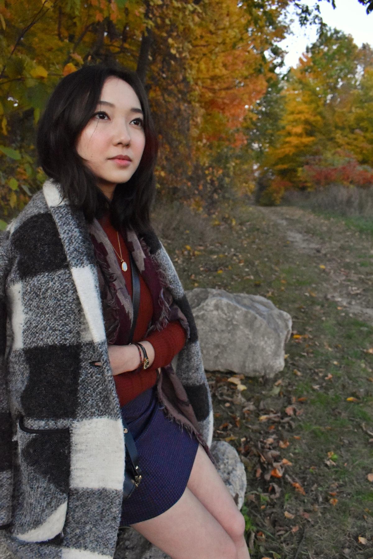 Wearing the Aritzia Neelam jacket, Sunday best Lyra skirt.
