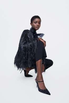 Zara studded leather high heels