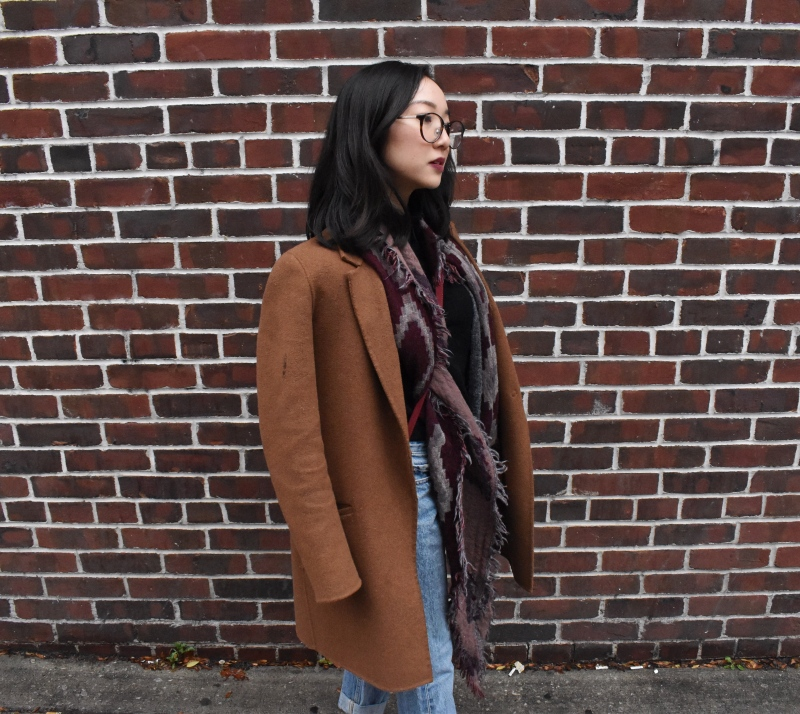 Outfit post with brick background