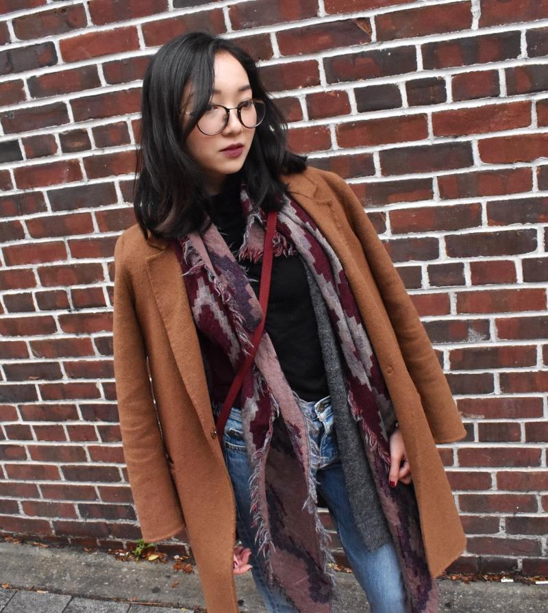 Ootd look featuring zara coat, wilfred mosaic scar, rag & bone boyfriend jeans and a deep berry lip.