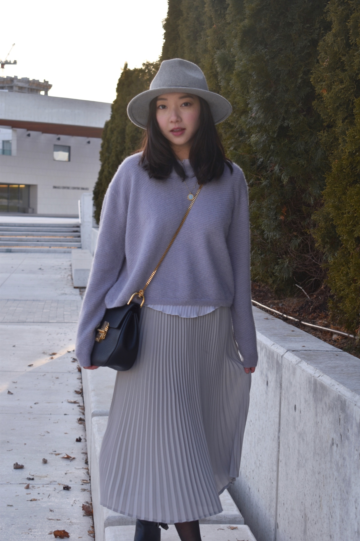 wilfred sweater, babaton skirt, club monaco fedora