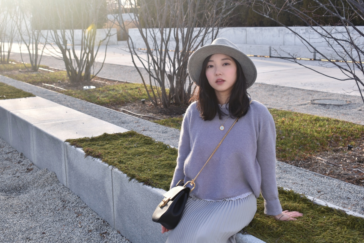 Featuring wilfred pastel purple sweater, Babaton skirt, Chloe bag