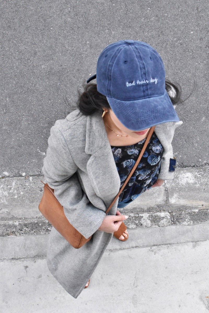 bad hair day hat, monochromatic outfit