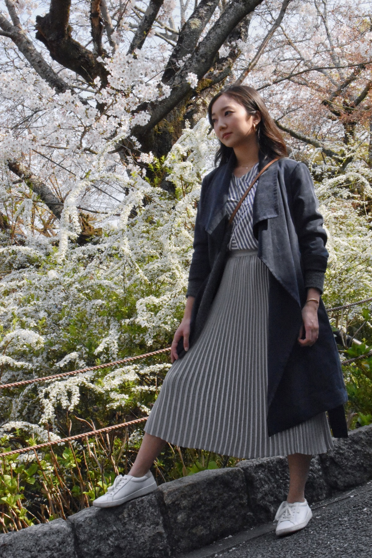 cherry blossom season, kyoto japan, philosopher's walk, minimal ootd, simple ootd
