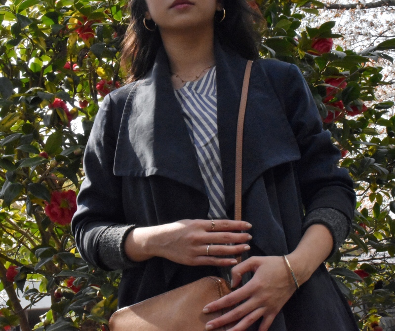 Closer look, outfit details, minimal chic style, club monaco duster coat